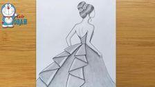 اموزش-طراحی-با-مداد-دختر-با-لباس-زیبا